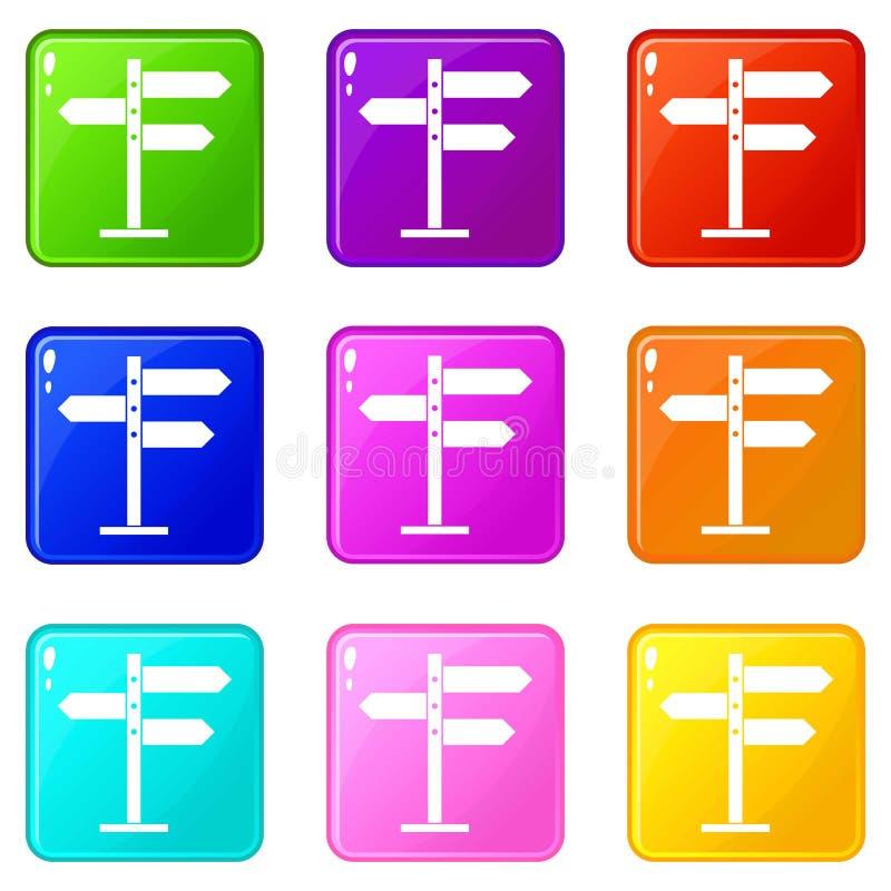 Grupo dos ícones 9 dos sinais de sentido ilustração do vetor