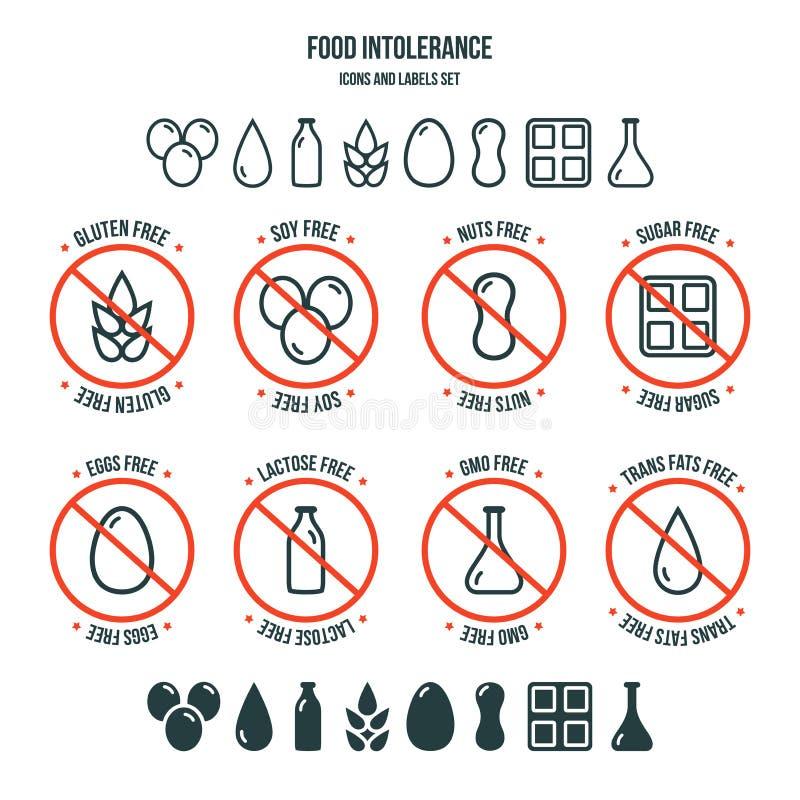 Grupo dos ícones e de etiquetas da intolerância do alimento ilustração royalty free