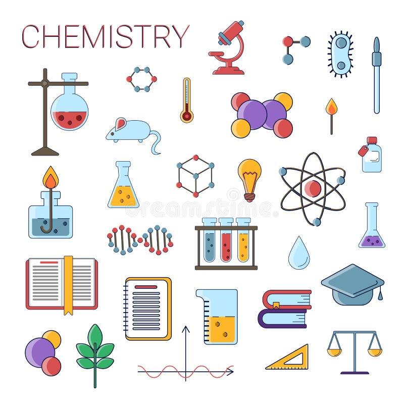 Grupo dos ícones lisos do vetor científico da química, símbolos da educação da química no projeto bonito colorido com química ilustração royalty free