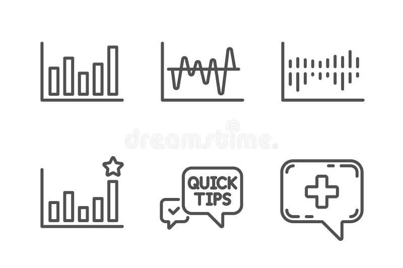 Grupo dos ícones pontas, do diagrama rápidos da eficácia e de coluna Análise conservada em estoque, carta de coluna e sinais médi ilustração royalty free