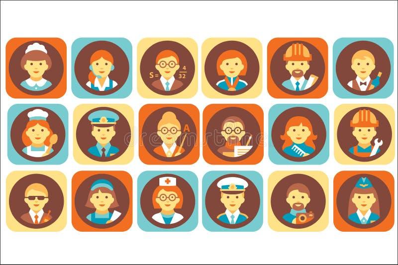 Grupo dos ícones dos povos da profissão, ilustrações humanas profissionais do vetor dos avatars da ocupação ilustração stock