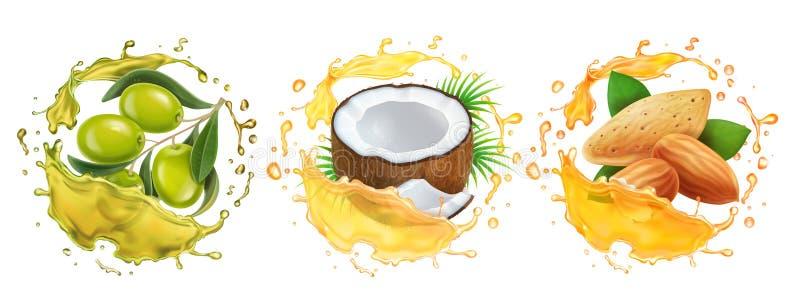 Grupo dos óleos O óleo do coco, da azeitona e de amêndoa espirra ilustração stock