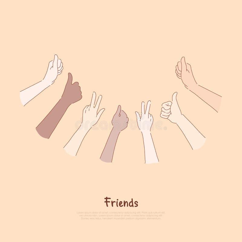 Grupo dos amigos que mostra os polegares acima de e os sinais de paz, sentimentos, expressão do humor, aprovação, confirmação, ba ilustração stock