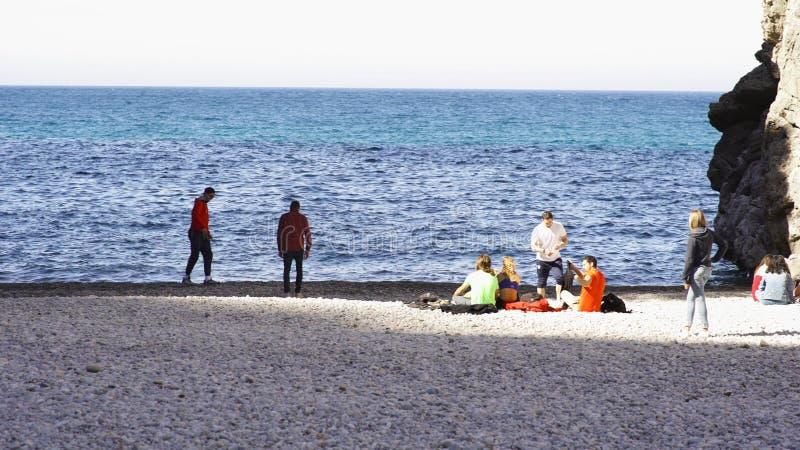 Grupo dos amigos que relaxam no litoral, stowns de jogo na água e tendo um piquenique, Oceano Pacífico, Califórnia foto de stock royalty free