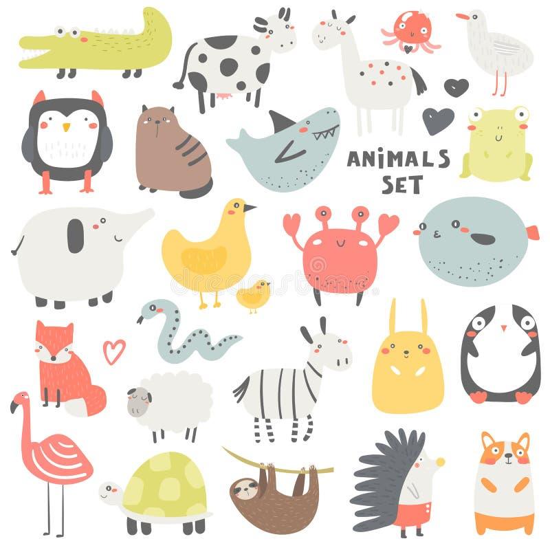 Grupo dos animais da garatuja que inclui a coruja, crocodilo, vaca, gato, tubarão, cavalo, medusa, rã, gaivota, elefante, galinha fotografia de stock