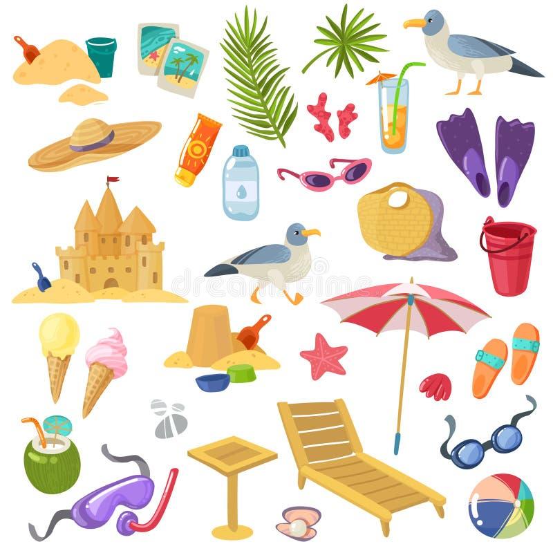 Grupo dos artigos da praia do verão ilustração royalty free