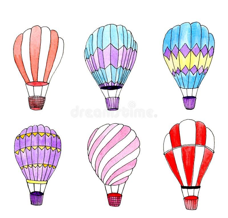 Grupo dos balões de ar quente da aquarela Elementos isolados do projeto ilustração stock