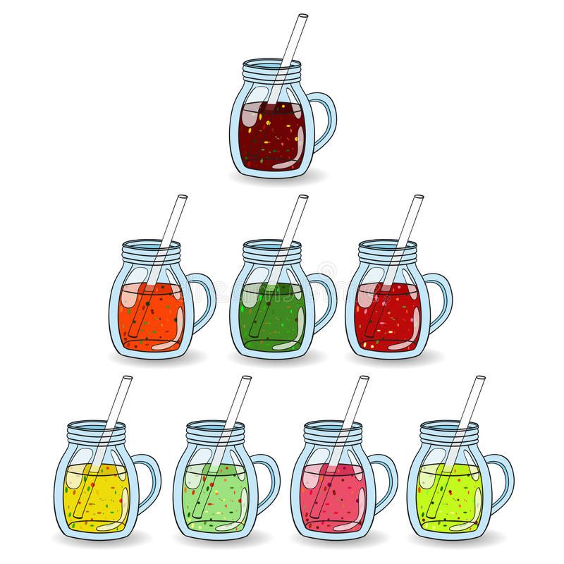 Grupo dos batidos, sucos com sabores diferentes ilustração stock