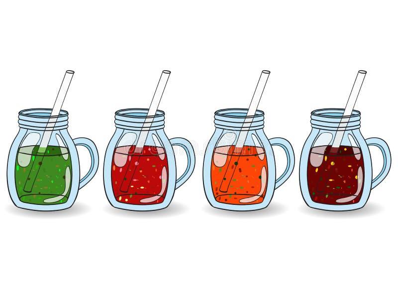 Grupo dos batidos, sucos com sabores diferentes O conceito de ilustração royalty free