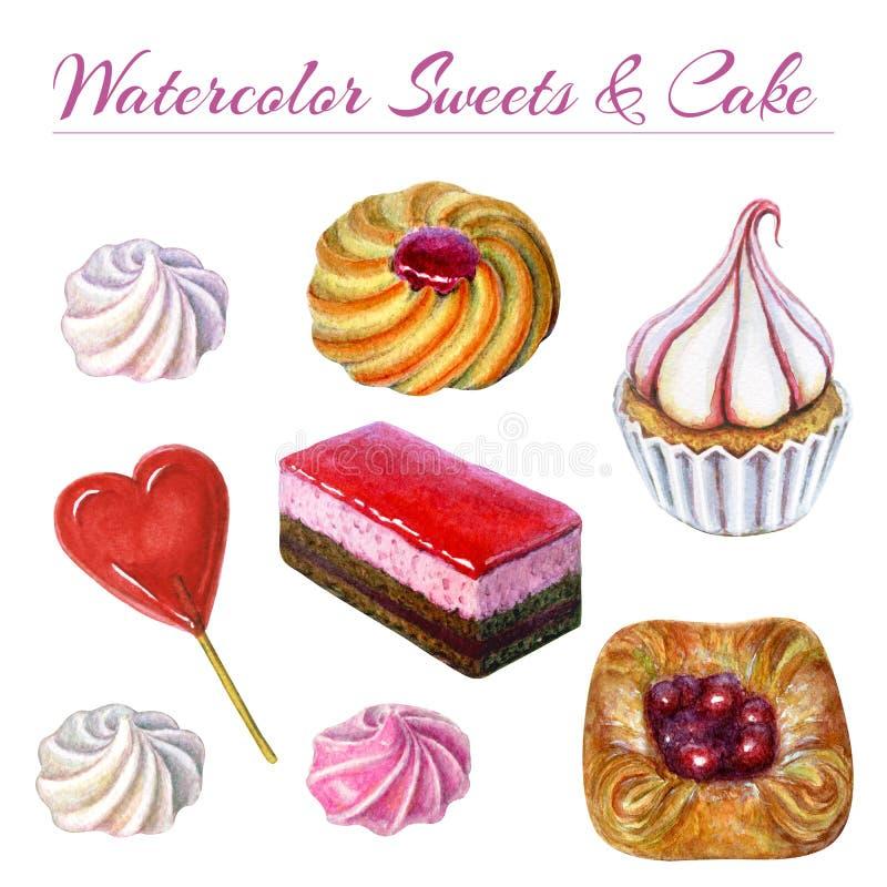 Grupo dos bens e dos doces de padaria Ilustração da aquarela de bolos e de doces doces e deliciosos Bolo de chocolate da aquarela ilustração stock