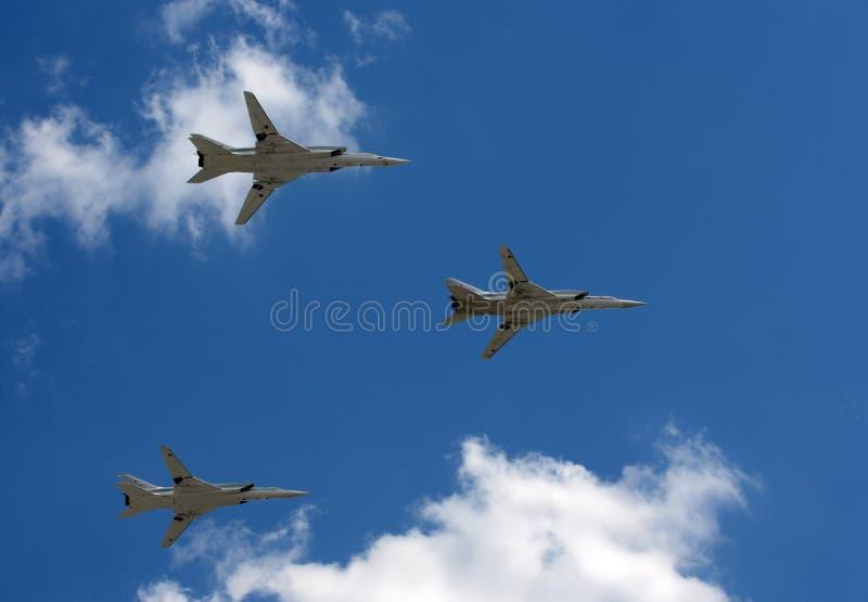 Grupo dos bombardeiros estratégicos de longo alcance supersônicos Tu-22M3 fotos de stock royalty free