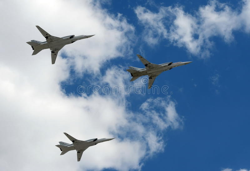 Grupo dos bombardeiros estratégicos de longo alcance supersônicos Tu-22M3 foto de stock royalty free