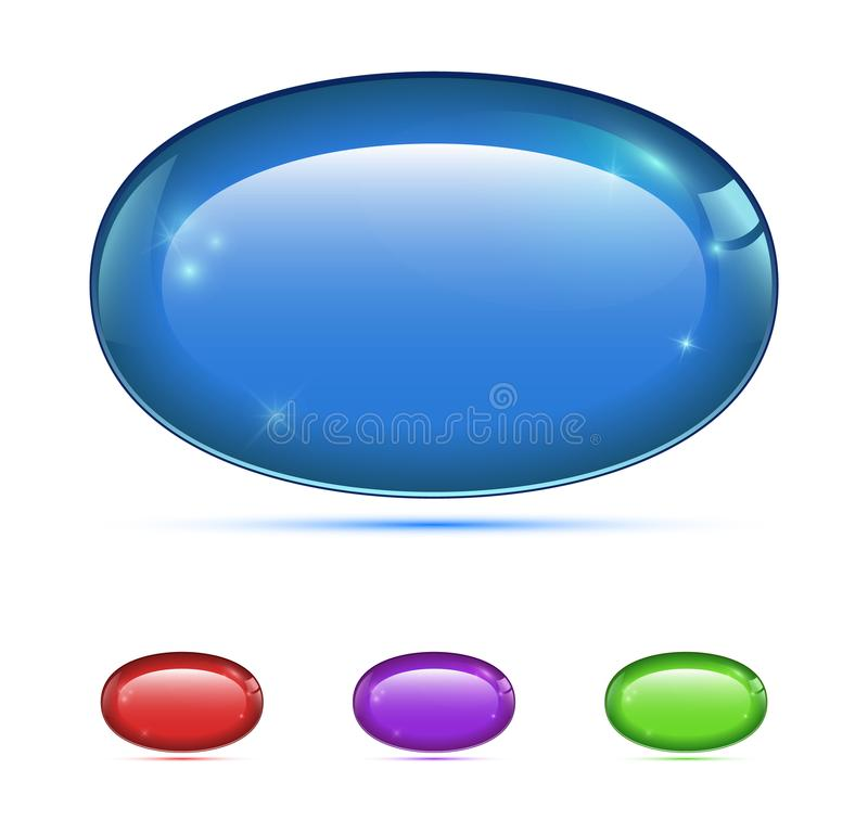 Grupo dos botões 3d coloridos Ícones para o Web ilustração royalty free