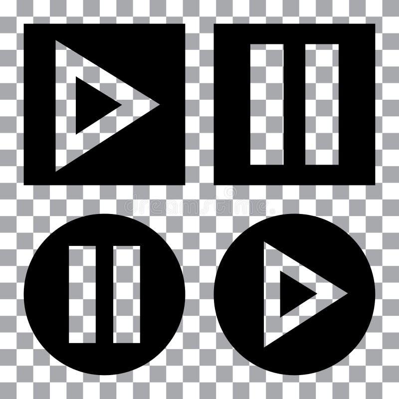 Grupo dos botões dos multimédios Ícone preto do botão do jogo Ilustra??o do vetor ilustração stock