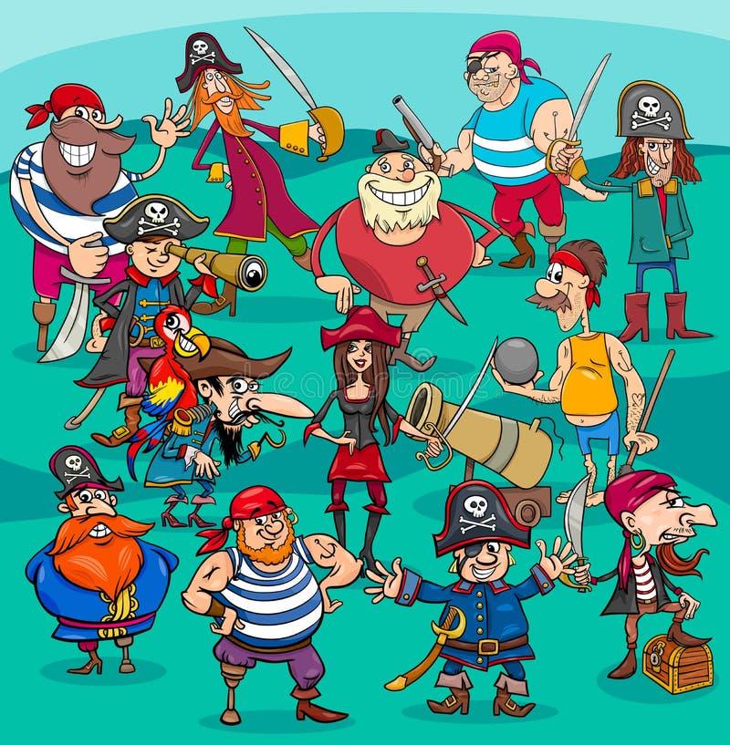 Grupo dos caráteres do pirata dos desenhos animados ilustração do vetor