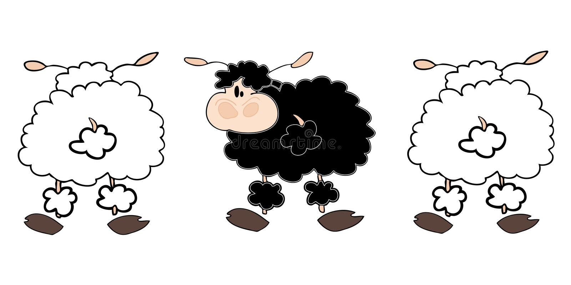 Grupo dos carneiros brancos com um preto. ilustração do vetor