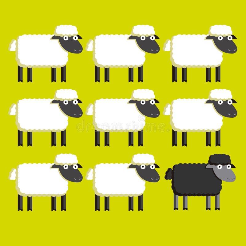 Grupo dos carneiros brancos e de uma ovelha negra ilustração do vetor