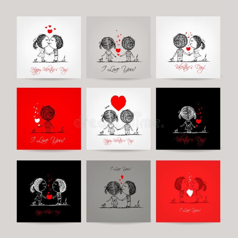 Grupo dos cartões, pares no amor junto ilustração stock