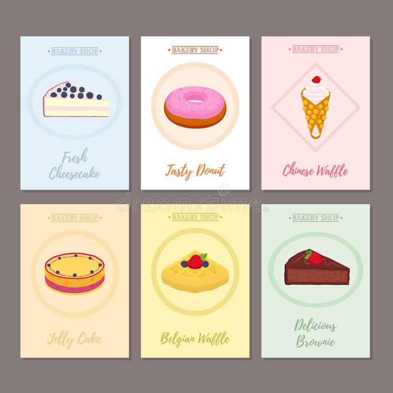 Grupo dos cartazes da pastelaria, bandeiras para o alimento doce Filhós, bolo de queijo ilustração do vetor