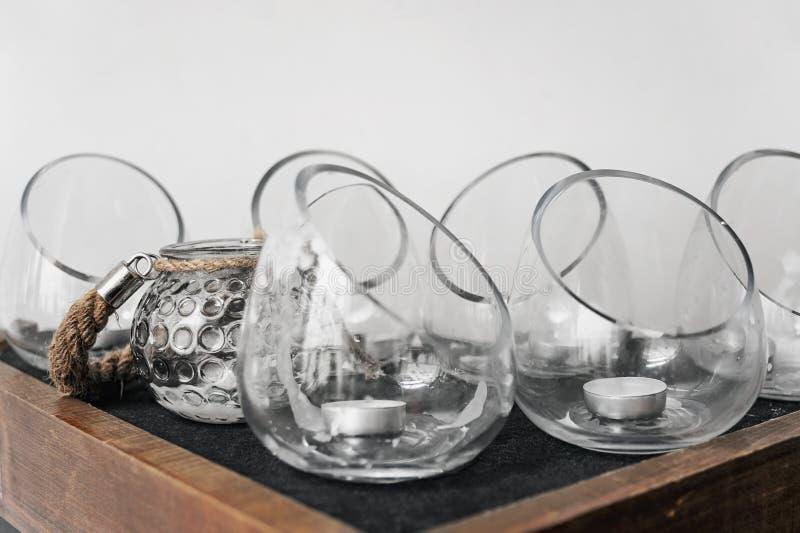 Grupo dos castiçal de vidro fotografia de stock royalty free