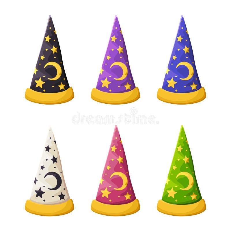 Grupo dos chapéus do feiticeiro colorido em um fundo branco Ilustração do vetor ilustração stock