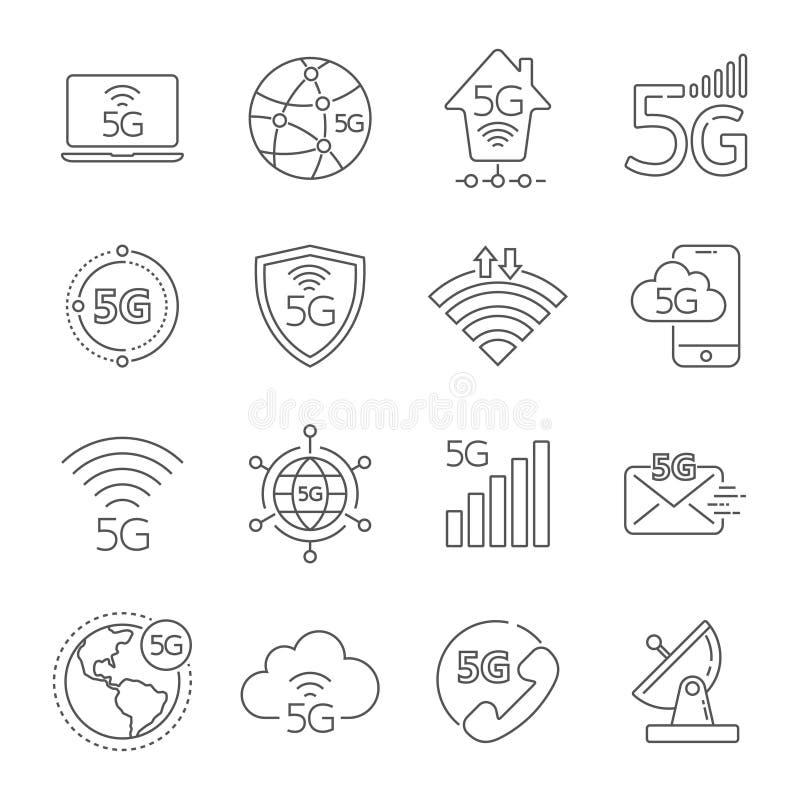grupo dos ?cones da tecnologia 5G rede móvel da 5a geração, sistemas sem fio da conexão de alta velocidade Ajuste da tecnologia 5 ilustração stock