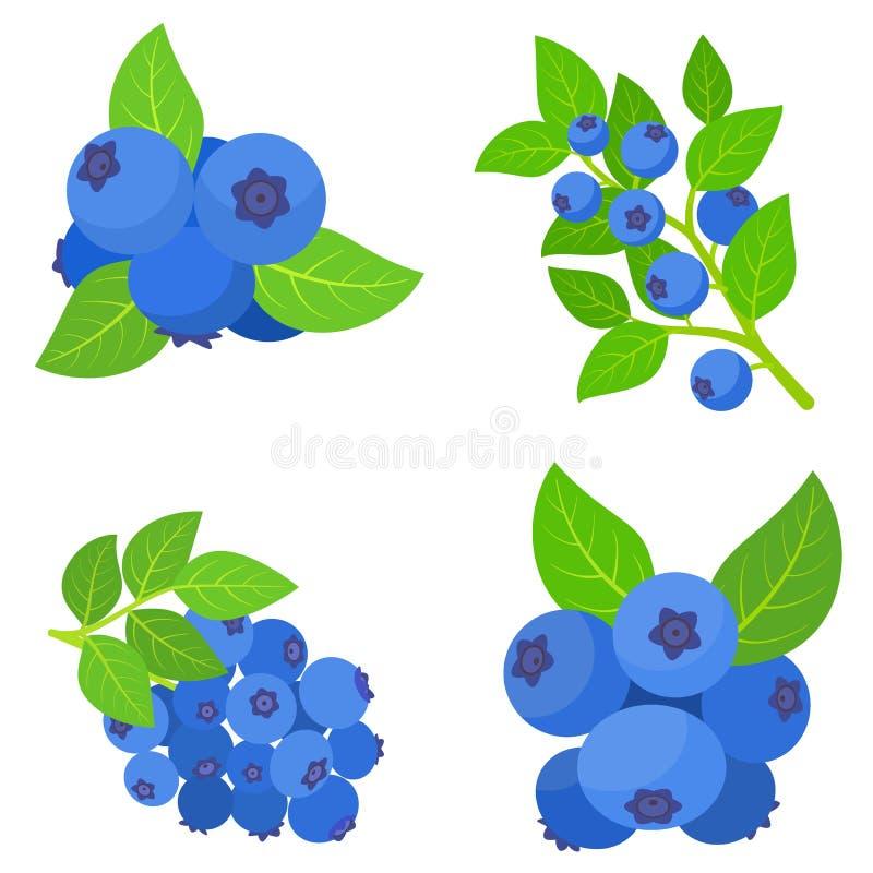 Grupo dos ?cones da uva-do-monte, estilo liso ilustração stock