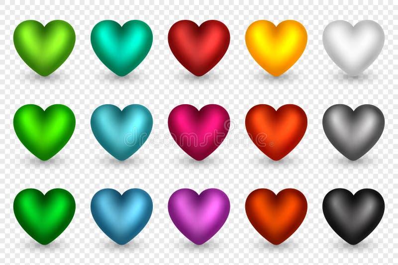 Grupo dos corações 3D em cores diferentes Elementos decorativos para fundos do feriado, cumprimento, convite, casamento ilustração royalty free