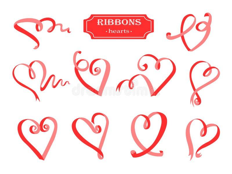 Grupo dos corações das fitas Elementos bonitos das fitas vermelhas para seu projeto ilustração do vetor