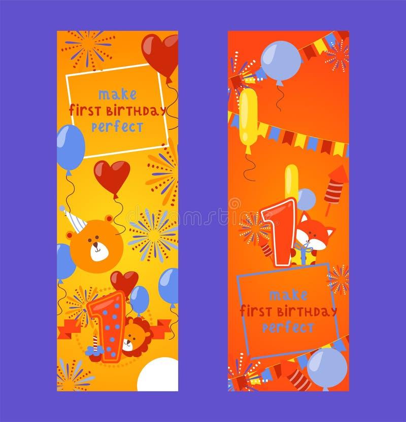 Grupo dos crachás do feliz aniversario de ilustração do vetor das bandeiras Balões, saudação, gato, presente, presente, leão, urs ilustração stock