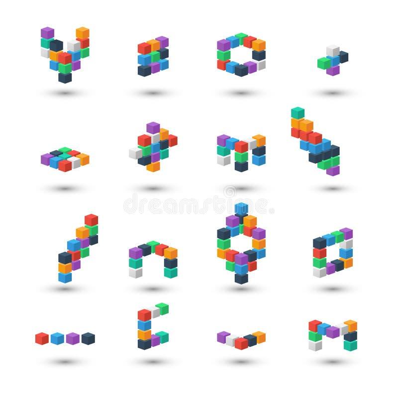 Grupo dos cubos 3d abstratos no fundo branco ilustração stock