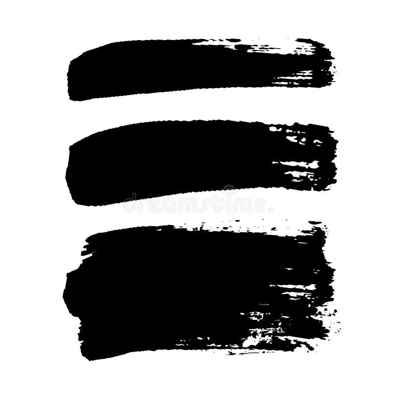 Grupo dos cursos da escova, fundo branco isolado Escova de pintura preta Linha do curso da textura do Grunge Projeto sujo da tint ilustração stock