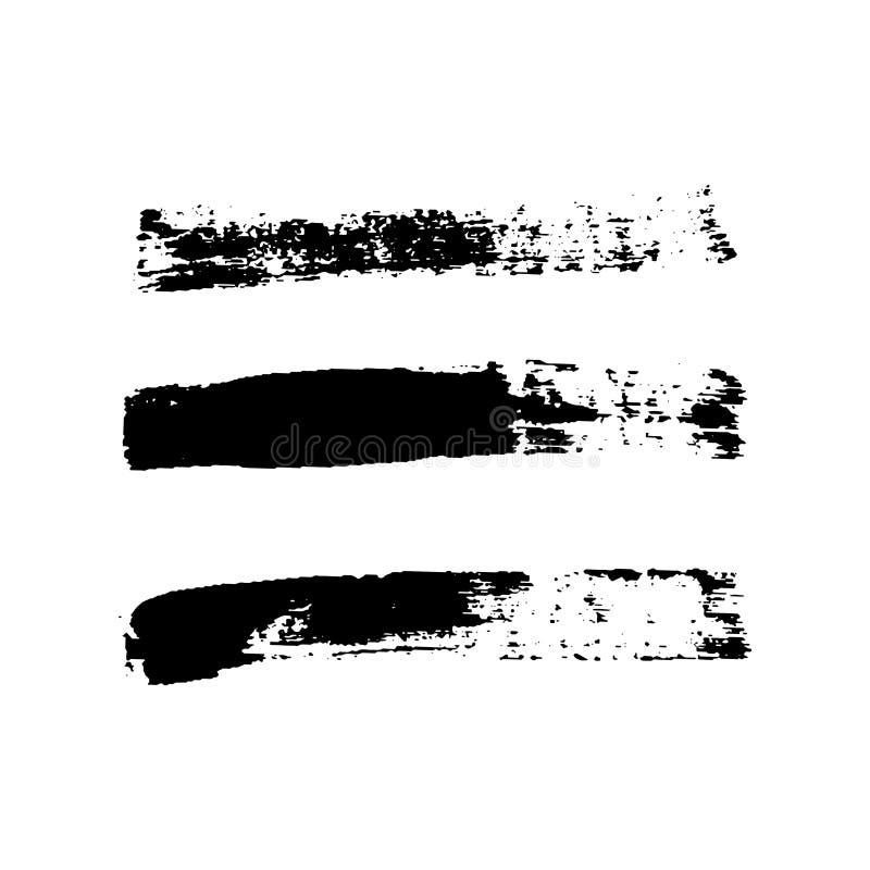 Grupo dos cursos da escova, fundo branco isolado Escova de pintura preta Linha do curso da textura do Grunge Projeto sujo da tint ilustração royalty free