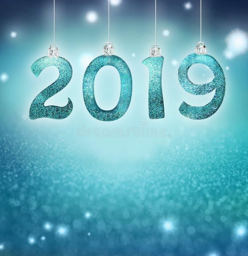 Grupo dos dígitos brilhantes de prata no fundo do brilho Fundo 2019 do ano novo Natal fotografia de stock