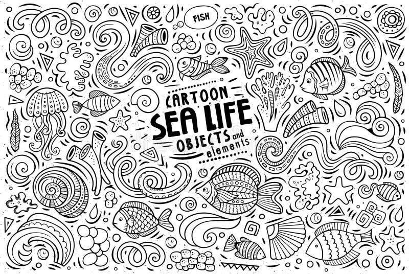 Grupo dos desenhos animados da garatuja de objetos e de símbolos da vida marinha ilustração stock