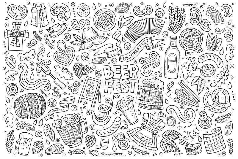 Grupo dos desenhos animados da garatuja do vetor de objetos e de símbolos de Oktoberfest ilustração stock