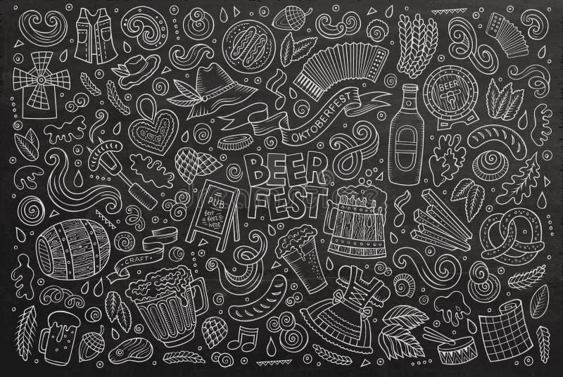 Grupo dos desenhos animados da garatuja do vetor de objetos e de símbolos de Oktoberfest ilustração do vetor