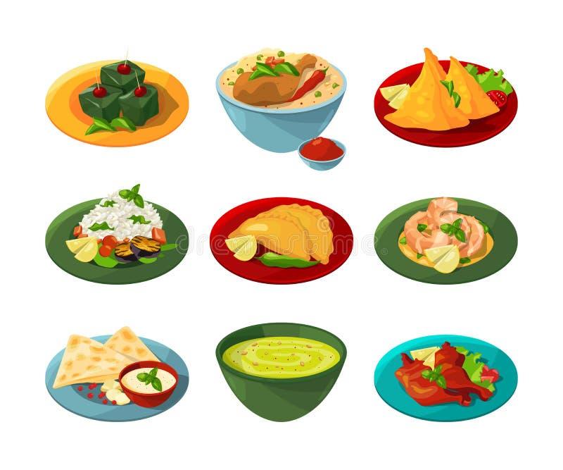 Grupo dos desenhos animados de alimento indiano tradicional em pratos diferentes ilustração royalty free