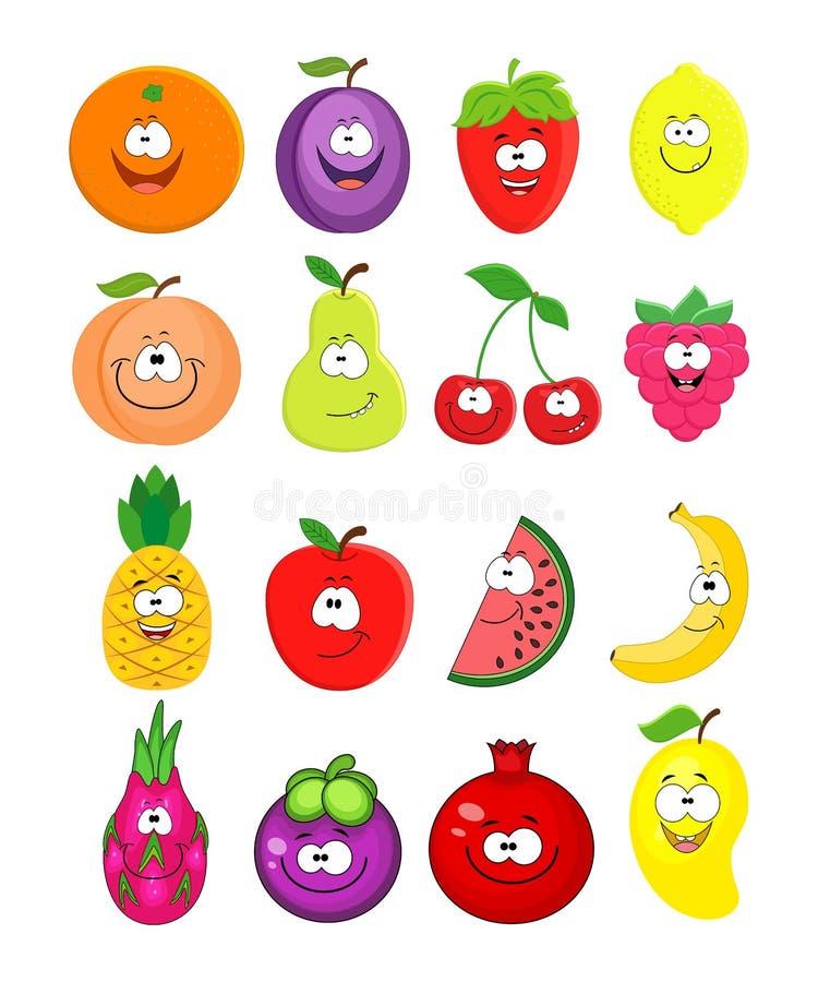 Grupo dos desenhos animados de frutos diferentes Pêssego, limão, melancia, che ilustração do vetor