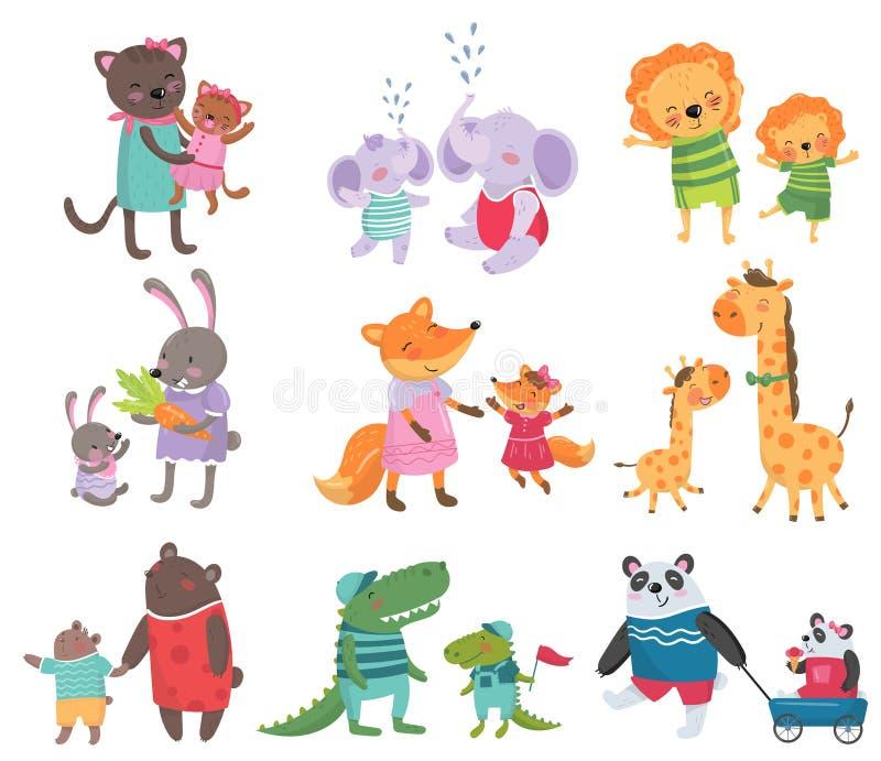 Grupo dos desenhos animados de retratos animais bonitos da família Gatos, elefantes, leões, coelhos, raposas, girafas, ursos, cro ilustração do vetor