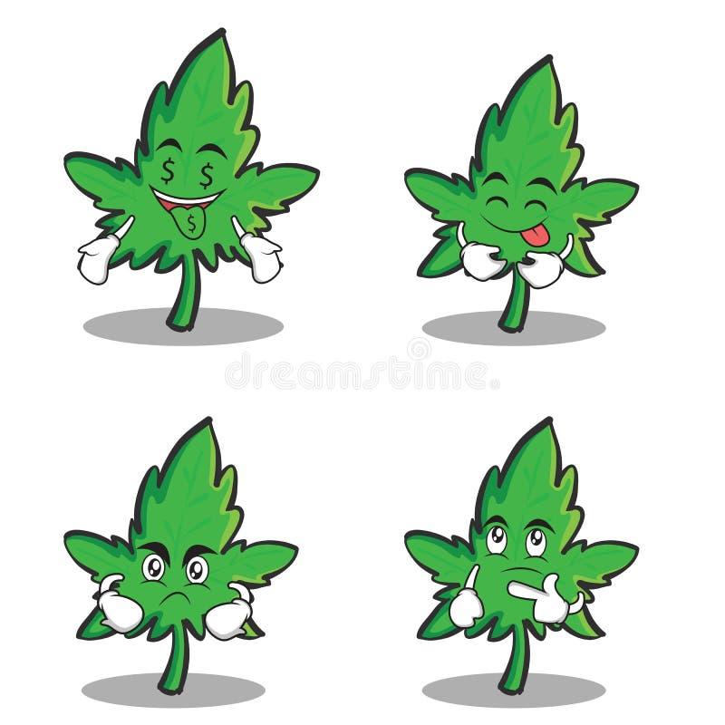 Grupo dos desenhos animados do caráter da marijuana da coleção ilustração royalty free