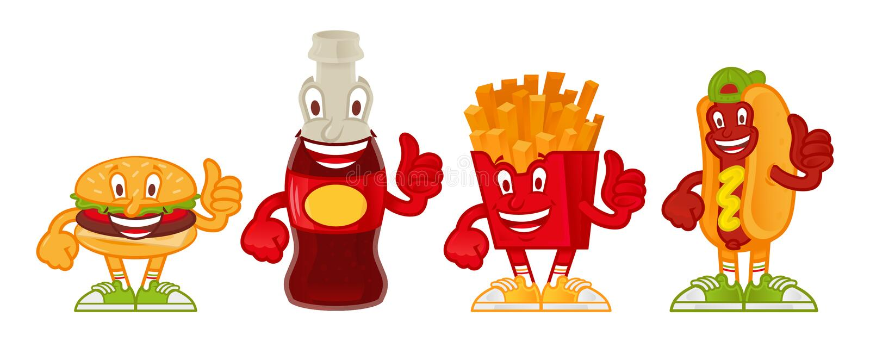 Grupo dos desenhos animados do fast food ilustração stock