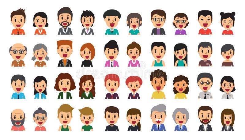 Grupo dos desenhos animados do vetor de ícones felizes diversos do avatar dos povos ilustração royalty free