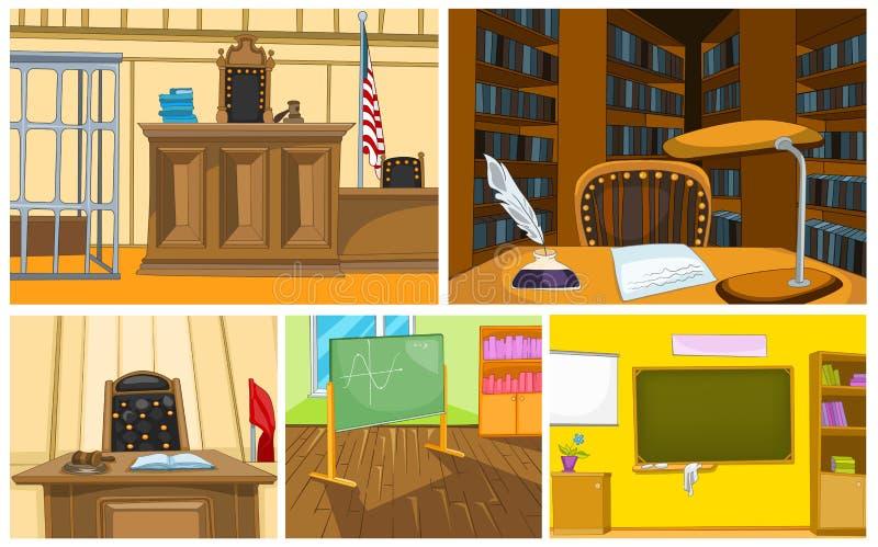 Grupo dos desenhos animados do vetor de fundos da corte e da escola ilustração do vetor