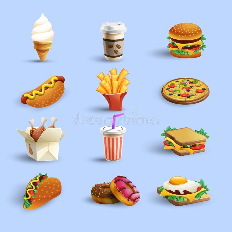 Grupo dos desenhos animados dos ícones do Fastfood ilustração do vetor