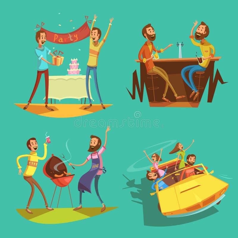 Grupo dos desenhos animados dos amigos ilustração stock
