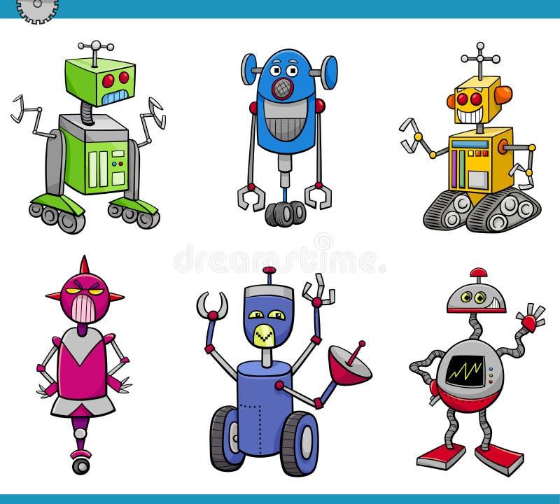 Grupo dos desenhos animados dos caráteres do robô ilustração stock