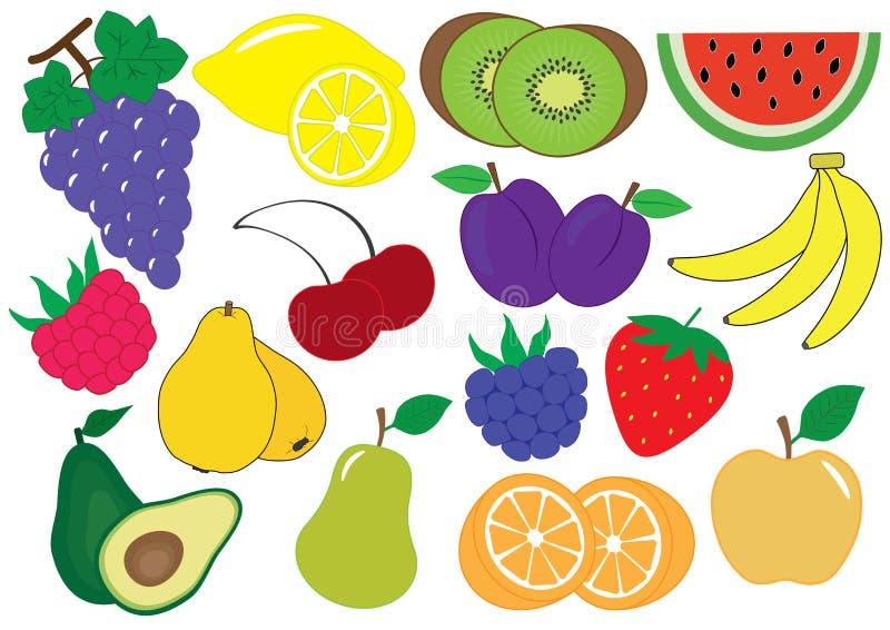 Grupo dos desenhos animados dos frutos e das bagas, ícones Ilustração do vetor ilustração do vetor