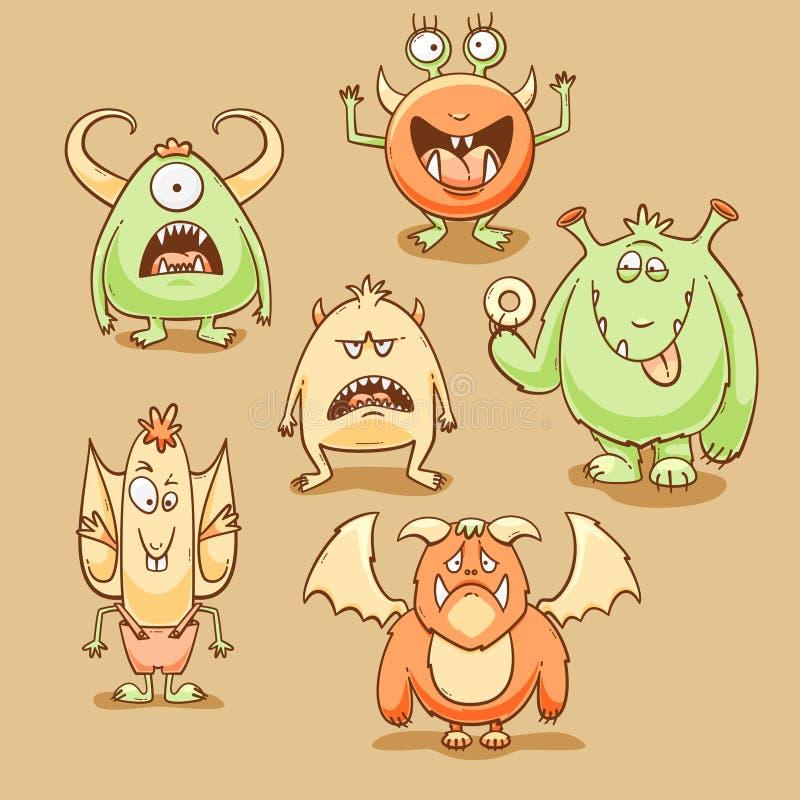Grupo dos desenhos animados dos monstro ilustração royalty free