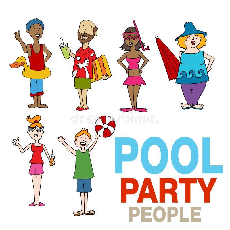 Grupo dos desenhos animados dos povos da festa na piscina ilustração do vetor